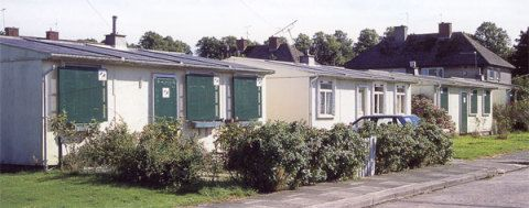 Some of the vacant prefabs at Llandinam Crescent, waiting to be demolished.