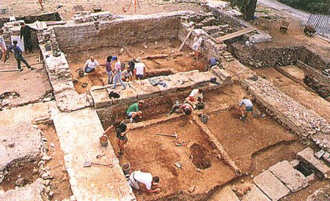 Excavations of the east end of the great hall of the basilica, with the drain in the foreground