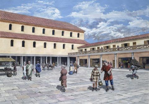 Reconstruction of the forum-basilica.