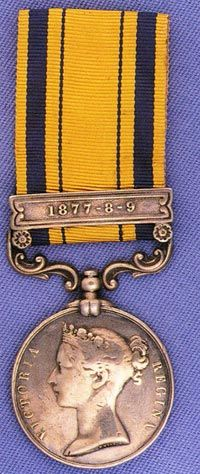 South Africa Medal 1877-79: '1428 Pte E. Jones 2.24th Foot'.