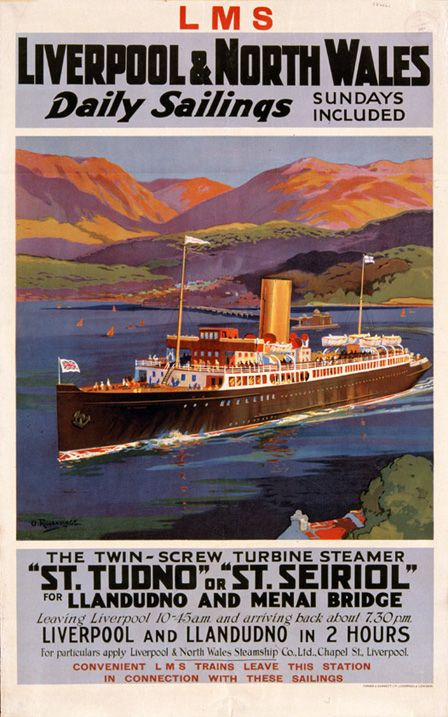 Daily Services of Sailings from Liverpool to Llandudno and Menai Bridge on St Tudno or St Seiriol