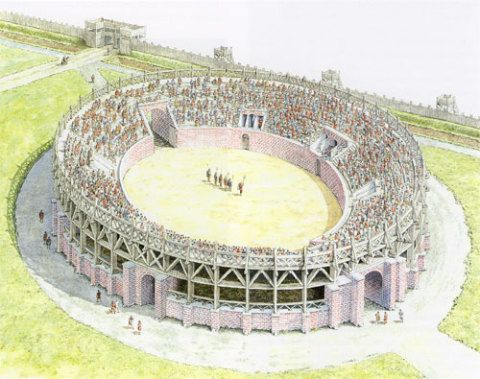 How the amphitheatre may have actually looked. Illustration by Dale Evans (1988) after the reconstruction by R. A. Anderson (1981). Cadw: Welsh Historic Monuments, Crown Copyright.