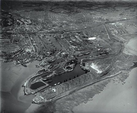Cardiff: the industrial port. An aerial view showing the completed dock system about 1948.