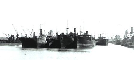 The age of depression. Laid-up ships in Cardiff docks about 1930.
