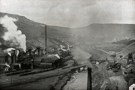 The archetypal image of industrial Wales — the Lewis Merthyr colliery in the Rhondda valley, about 1910.
