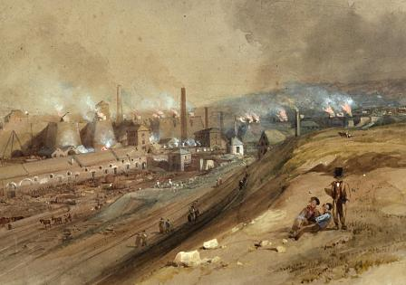 One of the great ironworks of south Wales: Dowlais ironworks as portrayed by George Childs in 1840.