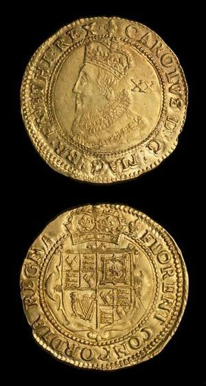 A gold Pound coin: a twenty-shillings piece of King Charles I (1625-49).