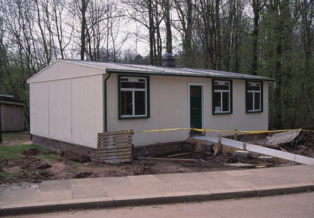 A Type B2 aluminium bungalow, built in 1947, now re-erected and displayed at the Museum of Welsh Life, St Fagans.