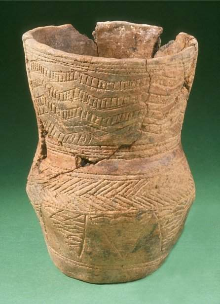 Another example of a Beaker, this time from a cist containing a female burial, discovered in 1991 in Llandaff (Cardiff). The burial was also accompanied by a bronze awl, an artefact commonly found with Beakers.