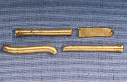 The fragments of bracelets, probably made from Irish gold.
