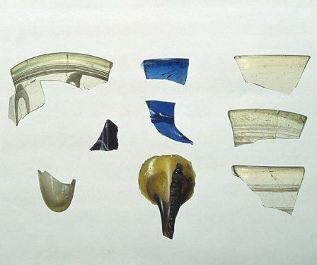 Pieces of glass from Dinas Powys (Vale of Glamorgan)