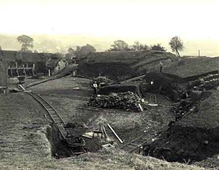 View of the excavation of the Roman amphitheatre at Caerleon, taken in 1927.