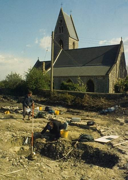 Excavations in progress in 1994 in part of the cemetery of St Dochdwy's monastery.