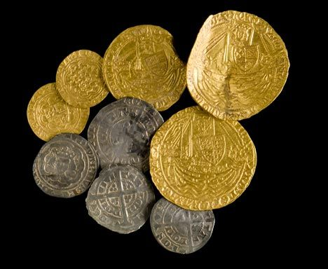 Medieval coin hoard discovered near Presteigne, Montgomeryshire and subsequently declared 'Treasure'