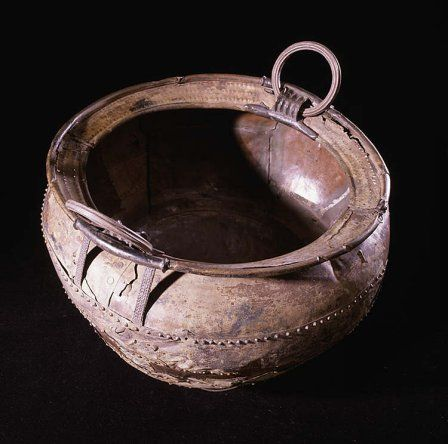 One of the two complete cauldrons from the Llyn Fawr hoard, Rhondda Cynon Taff.