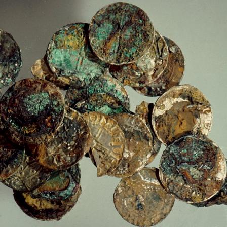 Part of the Abergavenny hoard as discovered.