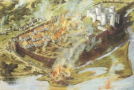 Kidwelly town and castle under attack during the Glyndŵr rebellion of 1403.