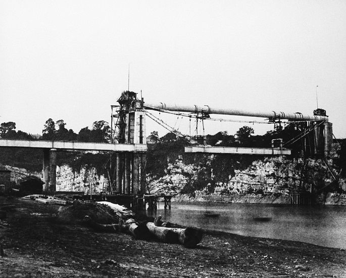 Chepstow rail bridge under construction, June 1852
