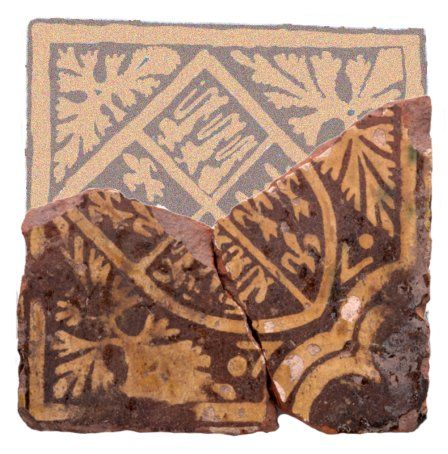 15th-century Malvern-school tile used at Raglan.
