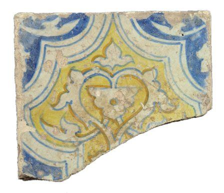 16th-century maiolica tile from the chapel floor laid by Earl William, probably before 1572.
