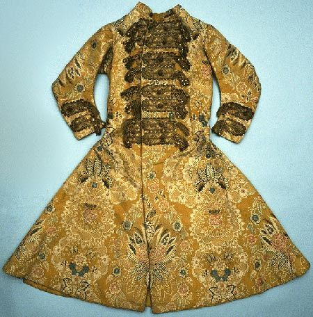This coat was probably worn by Sir William Morgan. It is of yellow lace pattern silk, dated to about 1725, and is of either English or French origin.