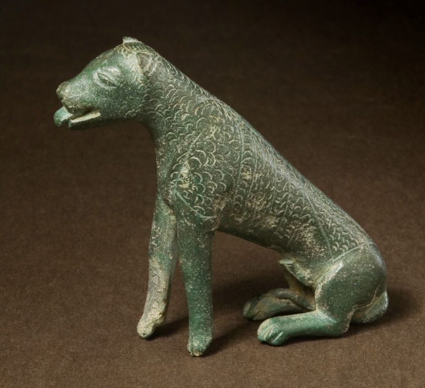 One of two miniature statues of dogs found at Llys Awel
