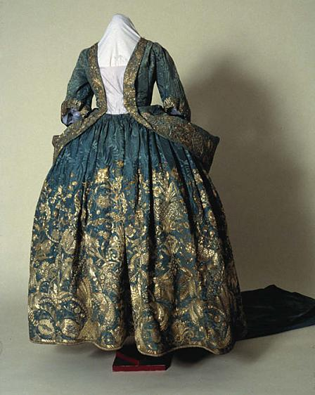 Silver embroidered blue damask court mantua (an open fronted gown with an elaborate train), made in the 1720s.
