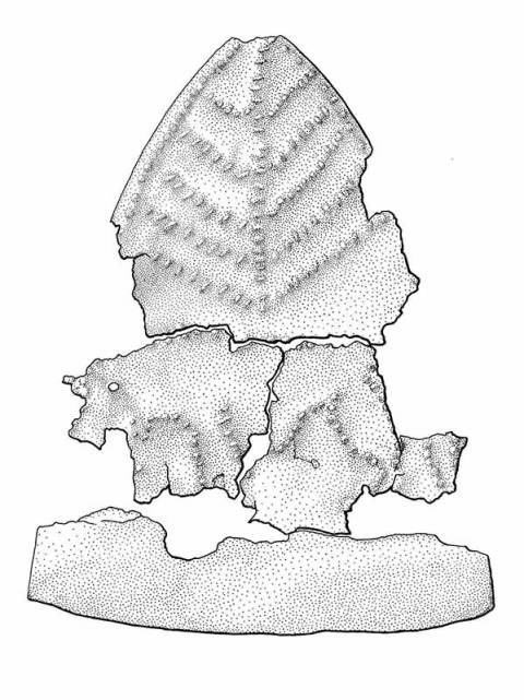 Illustration of votive leaf plaque