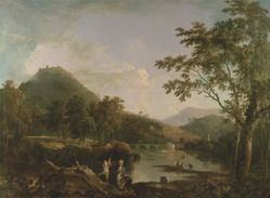 Landscape painting of 'Dinas Bran from Llangollen' by Richard Wilson