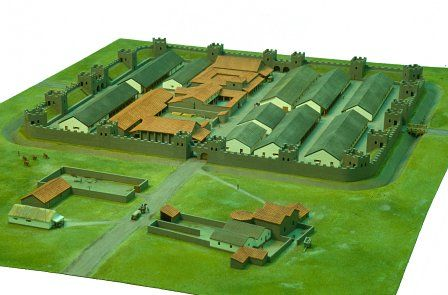 Model of the stone fort at Gelligaer in the early 2nd century AD.