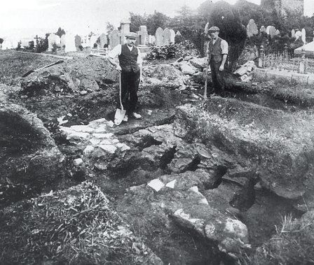 Excavation of the tile kiln at Gelligaer in 1913. Large quantities of brick and tile would have been needed during the construction of the fort.