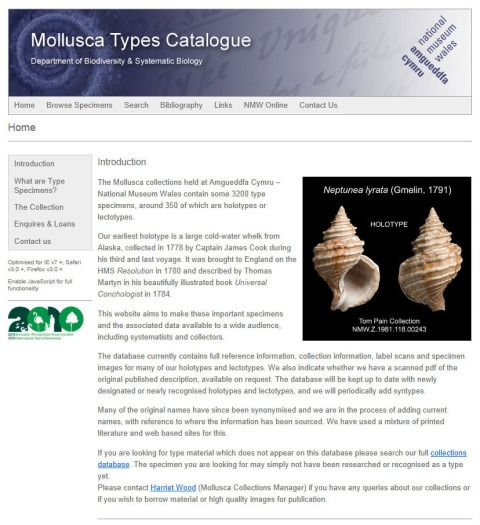 The homepage of the Mollusca Types Catalogue.