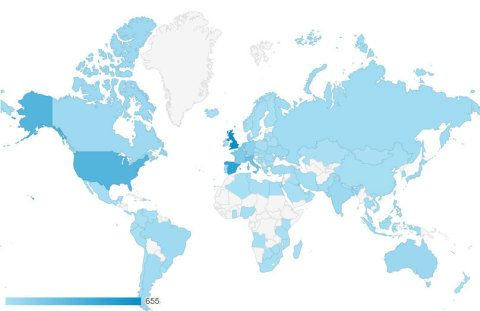A map illustrating the 110 countries that our web visitors come from so far.