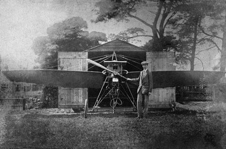 Charles Horace Watkins with his monoplane, the Robin Gôch