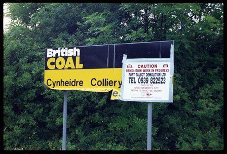 Sign at the entrance to Cynheidre Colliery, Pontyates, Llanelli