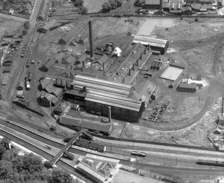Aerial view of Clayton Tinplate Works, Pontardulais seen from the west