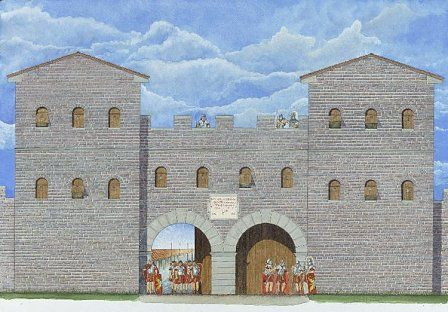 Reconstruction of the south-west gate, Caerleon.
