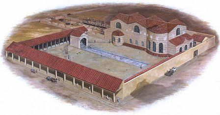 Reconstruction of the Roman fortress baths (Caerleon) in about AD80.