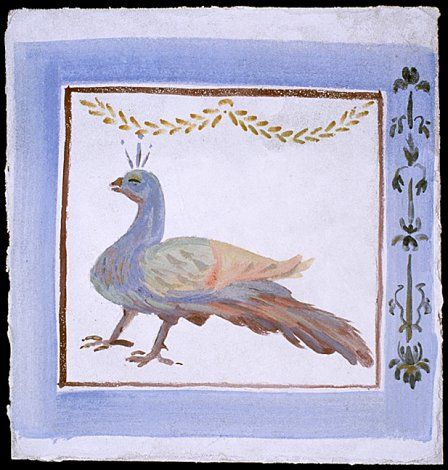 This reconstruction of the peacock shows how it might have looked when first painted.