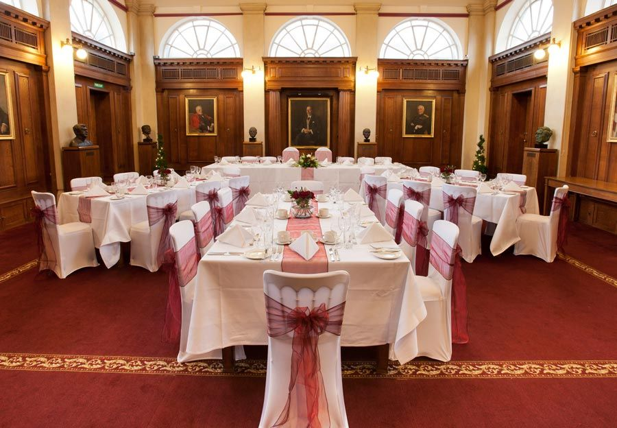 court room decorated for wedding