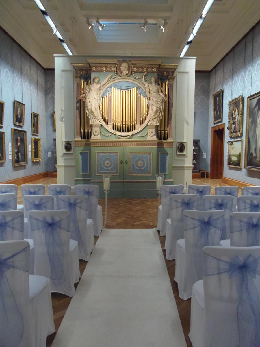 18th century gallery decorated for wedding