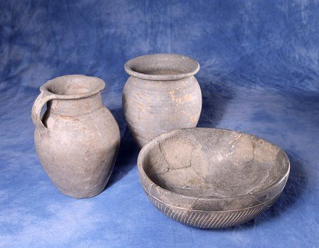 Here we see two South Wales Grey Ware vessels and a Caerleon grey ware bowl. South Wales Grey Ware was developed in the Usk region, and was notable for its storage jars and containers.