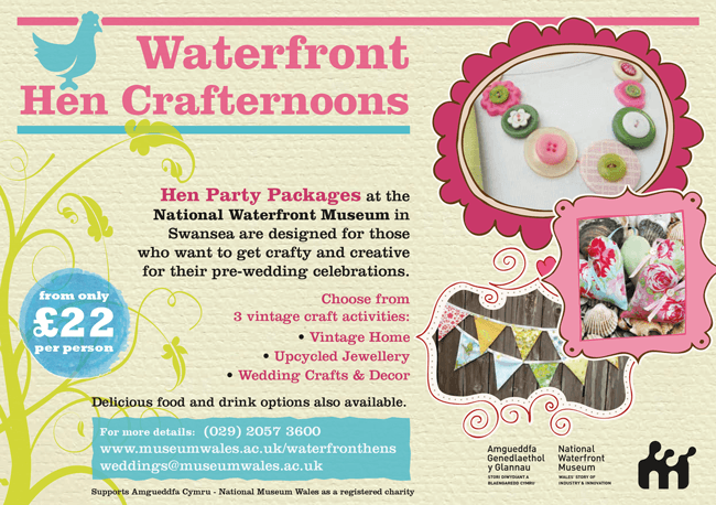 waterfront crafty hens flyer, click to download booking form