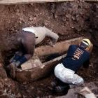 The Undy Coffin during excavation in 1996. The coffin was donated to Amgueddfa Cymru by David Mclean Homes Ltd.