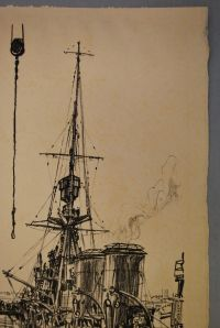 Foxing spots. Lithograph print: Ready for the Sea by Muirhead Bone, 1917.