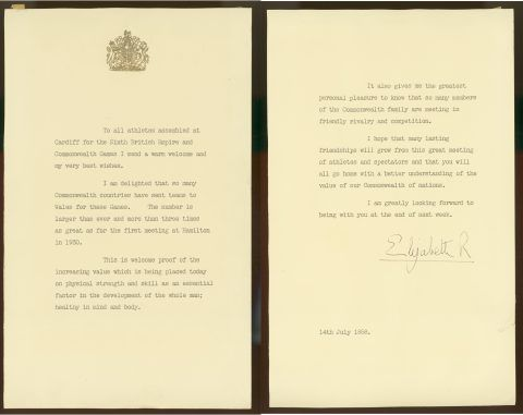 The Queen's message, signed 'Elizabeth R', dated 14 July 1958, and sent from Buckingham Palace to Cardiff via the baton relay. By Gracious Permission of Her Majesty Queen Elizabeth II.