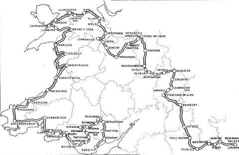 The route of the Queen's message relay in 1958. (© Commonwealth Games Federation)