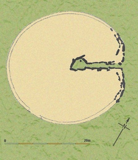 Plan of Bryn Celli Ddu showing the passage way lea