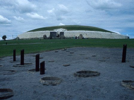 Newgrange, Co. Meath (Ireland), with pit circle in foreground.