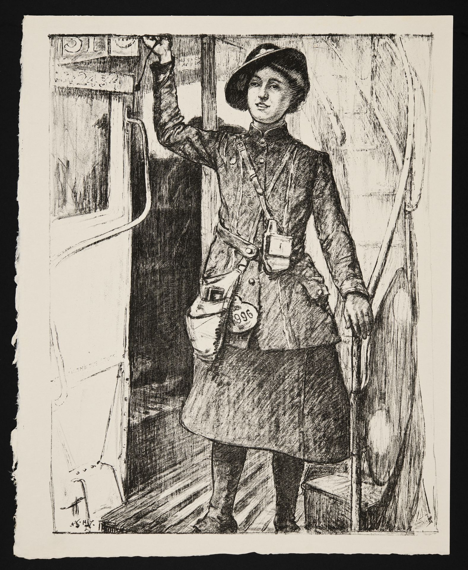 In the Towns: A bus conductress - A. S. Hartrick